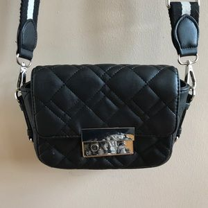 ZARA black faux leather quilted crossbody purse